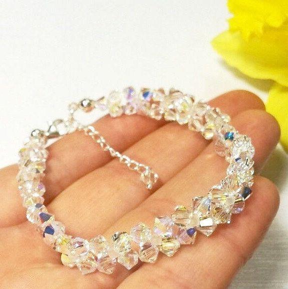 Clear AB Swarovski Crystal Bracelet Swarovski Bridal Bracelet Wedding Crystal Bracelet Swarovski Clear AB  Special Day Bracelet Gift For Her by AuroraCrystalPassion on Etsy