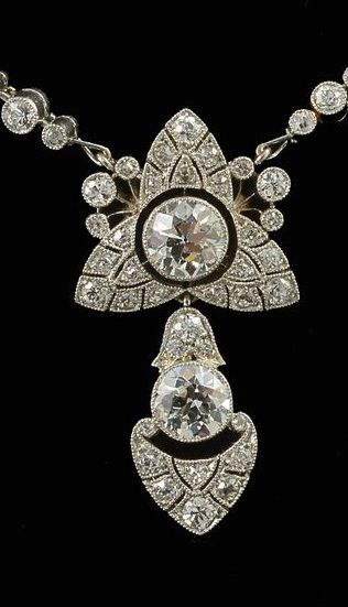 John Joseph Pendantsplatinum set Edwardian pendant / necklace fine quality diamonds 1910c