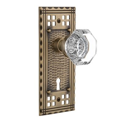 Nostalgic Warehouse Craftsman Plate Interior Mortise Lock with Keyhole and Crystal Knob