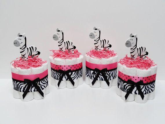 FOUR Blue Zebra Mini Diaper Cakes Baby by LanasDiaperCakeShop
