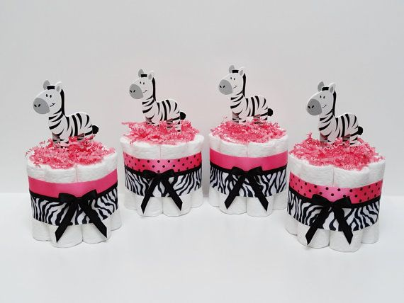 FOUR Hot Pink  Zebra Mini Diaper Cake Baby Shower Decorations awesome ideas for nene pink and yellow princess girl baby shower