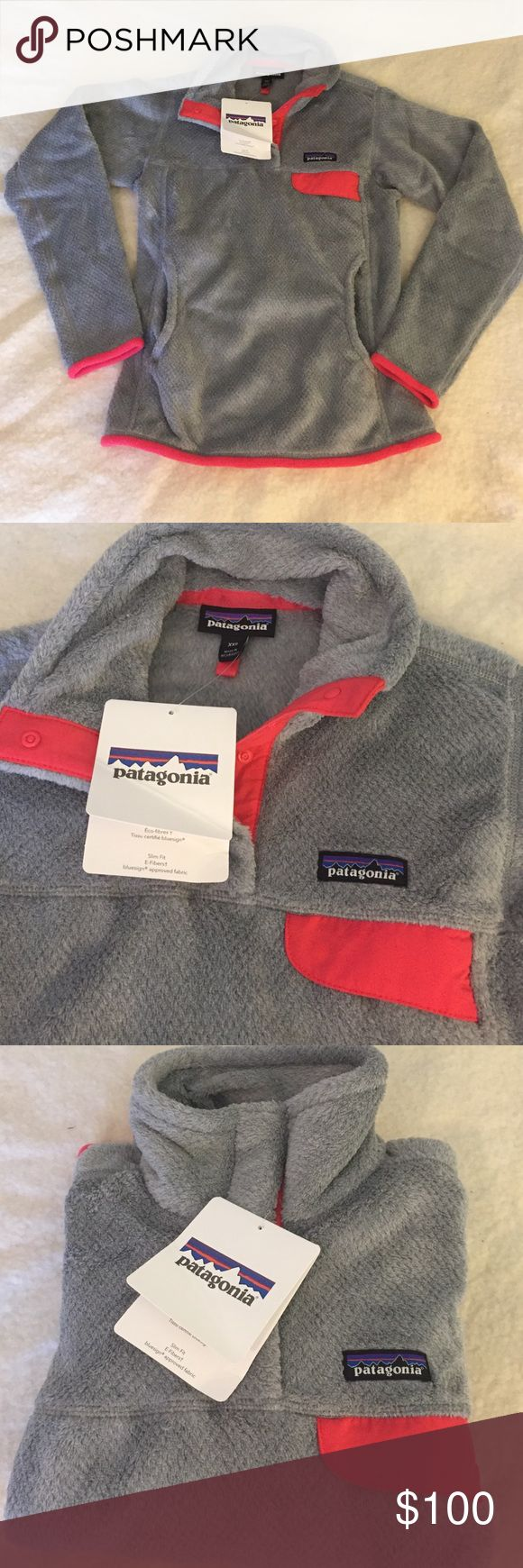 NWT Patagonia Re-tool Snap-T Pullover Size XXS Beautiful Gray and Pink Patagonia pullover. Brand New with Tags!  Slim fit. Would fit a women's 00 or a child size large. Super comfy. My daughter has one and it's her favorite thing to wear. Patagonia Other