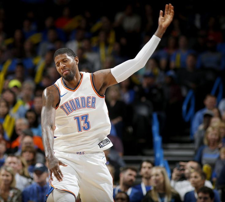 Oklahoma City's Paul George (13) reacts after he was called for a foul during an NBA basketball game between the Oklahoma City Thunder and the Indiana Pacers at Chesapeake Energy Arena in Oklahoma City, Wednesday, Oct. 25, 2017. The Thunder won 114-96. Photo by Bryan Terry, The Oklahoman