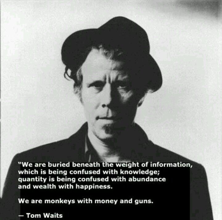 We are buried beneath the weight of information, which is being confused with knowledge; quantity is being confused with abundance and wealth with happiness.   We are monkeys with money and guns. ~Tom Waits
