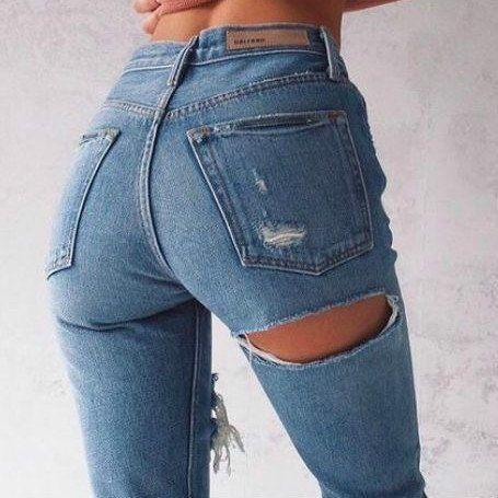 Super Hot Butt Destroyed Hole Loose High Waist Rretro Denim Boyfriend Jeans – Lupsona