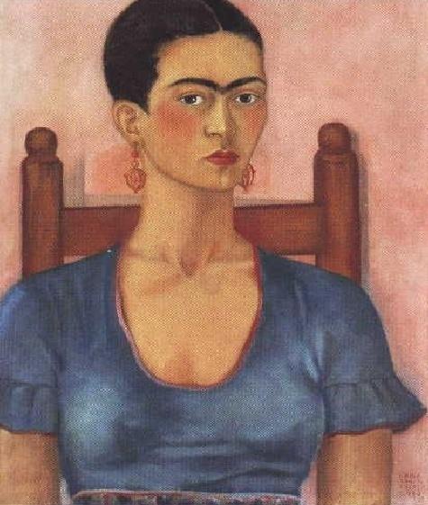 자화상 (1930) / 프리다 칼로의 자화상. 그녀는 사고로 인한 고통을 극복하고자 거울을 통해 자신의 내면 심리 상태를 관찰하고 표현하고자 한 화가이다. 따라서 그녀의 작품에는 자화상이 많다.