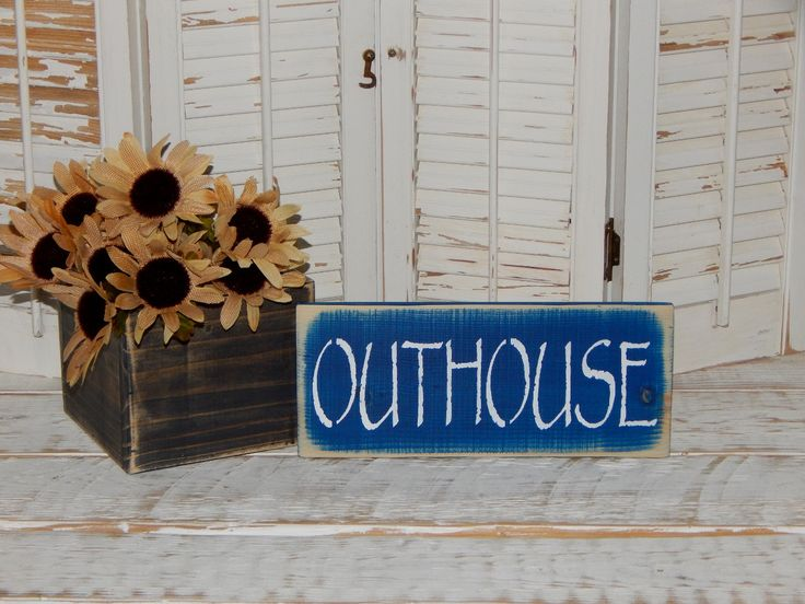 Bathroom Sign Outhouse Sign Bathroom Decor Country Decor Sign Ready To