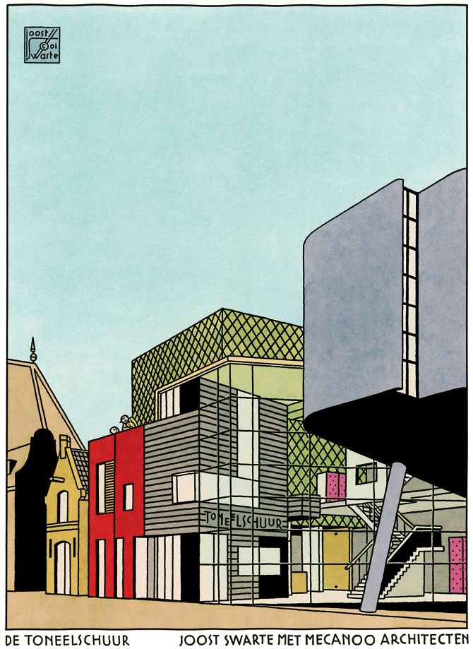 De Toneelschuur, final design. Images developed for the presentation portfolio by Joost Swarte © Joost Swarte