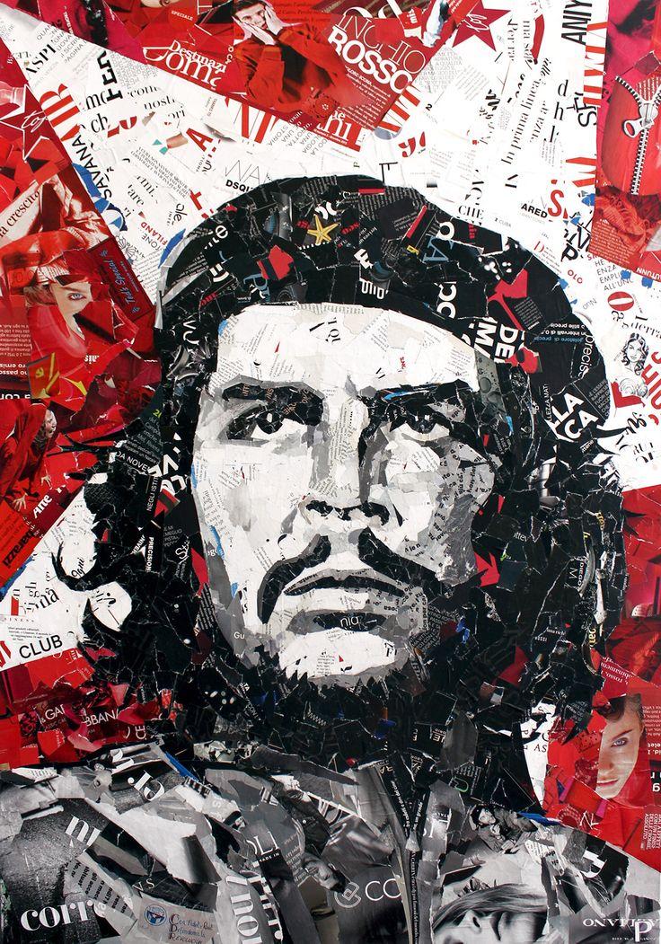 CHE GUEVARA Magazine Collage Quadro 70x100 cm   Realizzato esclusivamente con riviste riciclate e colla vinilica su tela.   www.paolamontanaro.com