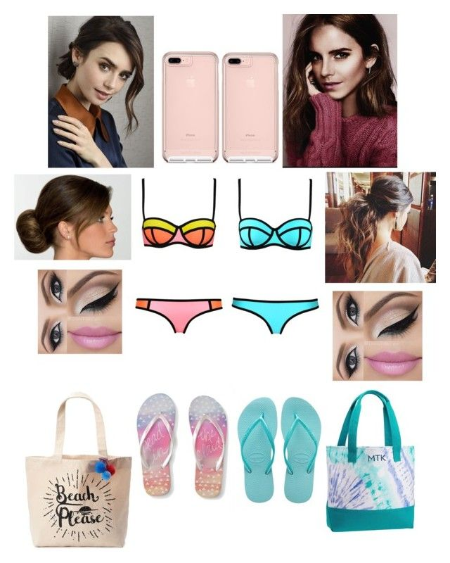 """Ariana and Lily beach day"" by biermann ❤ liked on Polyvore featuring WithChic, Aéropostale, Havaianas, PBteen and Tri-coastal Design"