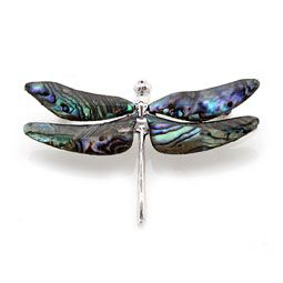 Mother of Pearl Brooch with Dragonfly Design