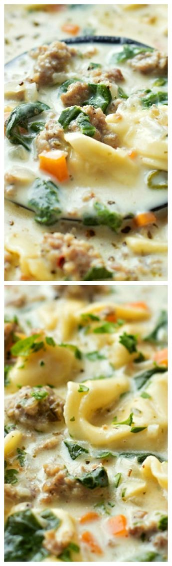 Creamy Sausage and Tortellini Soup ~ A bowl full of comfort... It's loaded with veggies, sausage and cheese tortellini- plus it comes together in just 45 minutes!