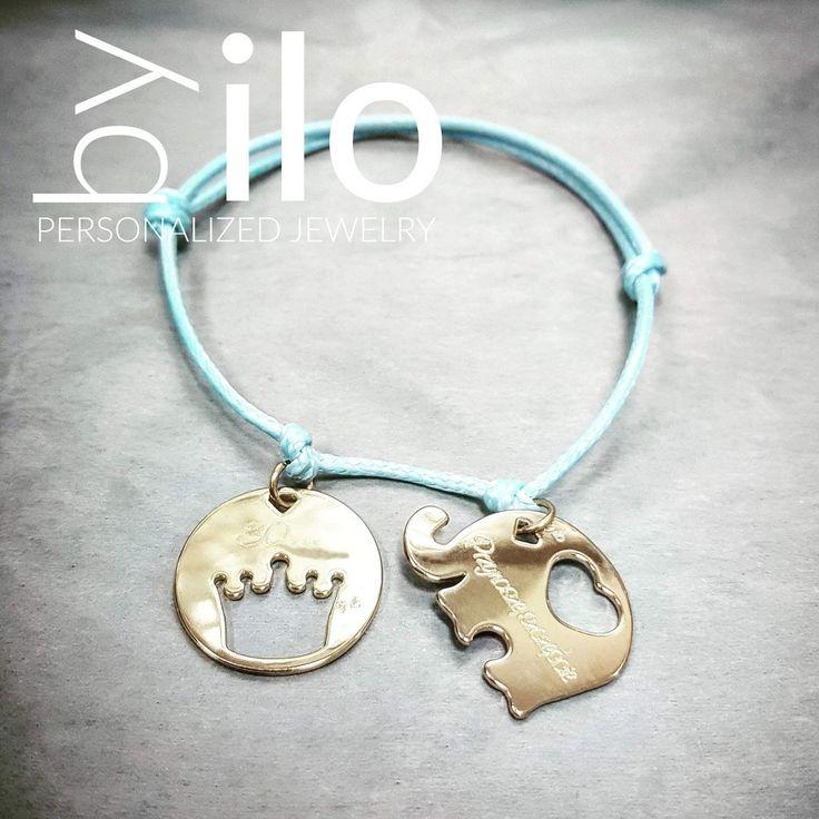 Lucky charms bracelet -  lucky elephant and crown medallion