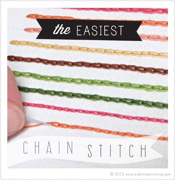 The Easiest Chain Stitch Technique  So many awesome things on this site. Really a fresh new look and feel for embroidery.   found at-Sublime Stitching