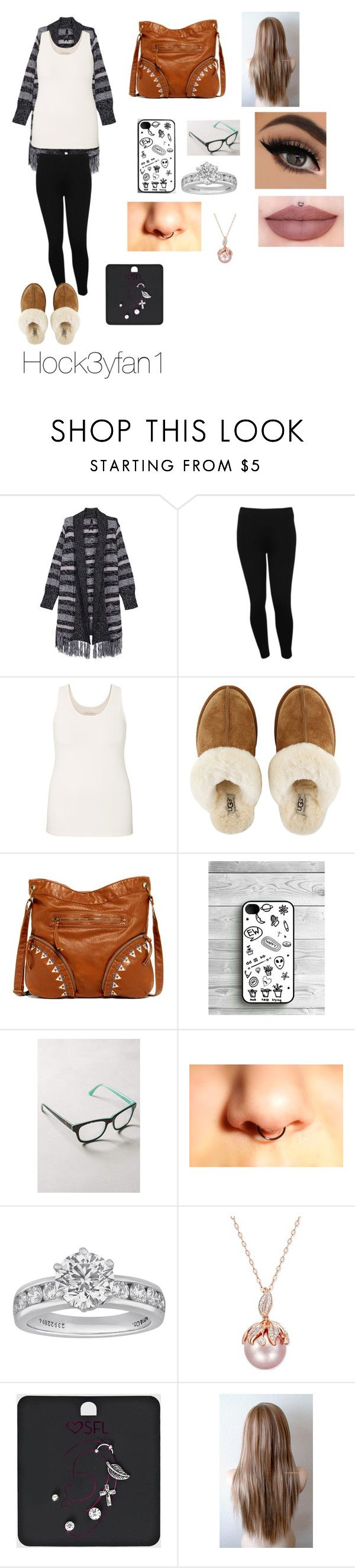 """""""My sister(or at least I tried to make an outfit she would wear)"""" by emilylvmuncraft ❤ liked on Polyvore featuring Melissa McCarthy Seven7, M&Co, maurices, UGG Australia, T-shirt & Jeans, Anthropologie, Tiffany & Co. and plus size clothing"""