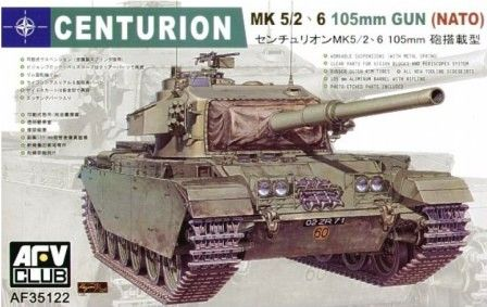 Centurion Mk.5/2 / Mk.6 105mm Gun (NATO). AFV Club, 1/35, rebox 2006 (ex AFV Club 2006 No.AF35100, updated/new parts), No.AF35122. Price: Not Sold. Decals 5x (1x Netherlands Army, 2x Danish Army, 2x British Army).