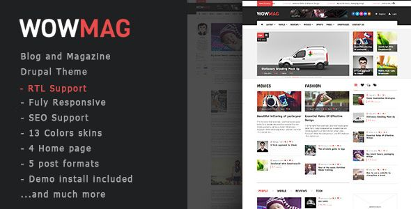WowMag - Blog / Magazine / News Drupal Theme
