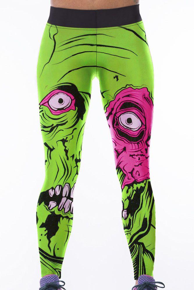Leggings Vert Monstre Impression Taille Haute Yoga Pants Pas Cher www.modebuy.com @Modebuy #Modebuy #CommeMontre #me #likeback #instafashion