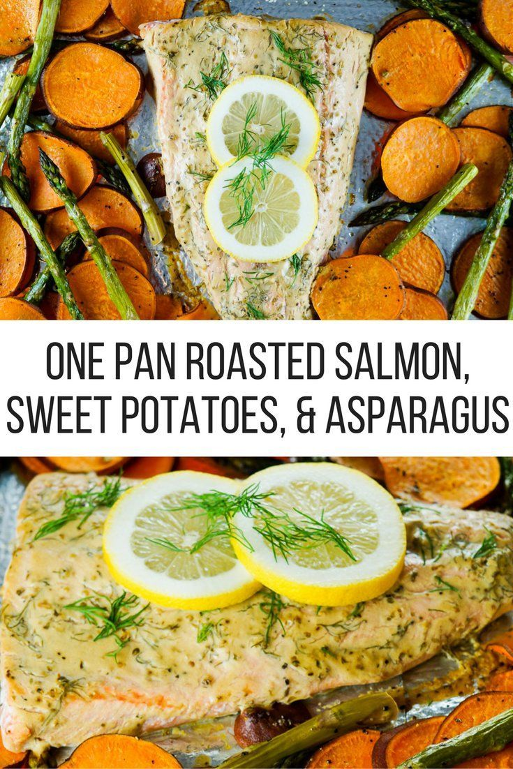 One Pan Roasted Salmon, Sweet Potatoes, and Asparagus - Slender Kitchen