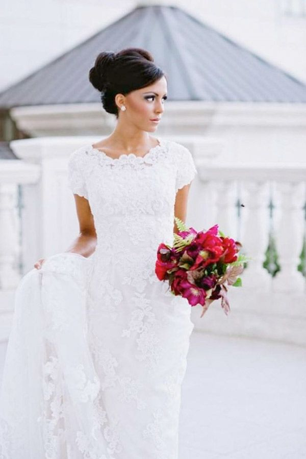 white high neck lace wedding dress