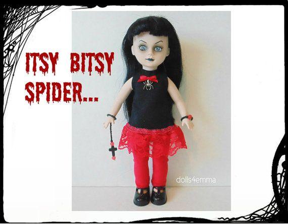 Living Dead Pop Goth kleding - Goth Spider Dress, rode Legging, armband & Goth overschrijden sieraad - handgemaakte Custom mode - door dolls4emma