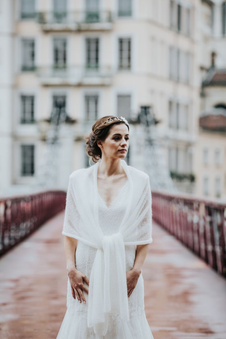 étole de mariée  - tricot  pour mariage - maille mohair - accessoire mariage hiver