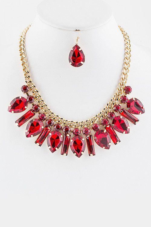 Crystal Statement Drop Necklace Set (Ruby) – EvaMaria Boutique