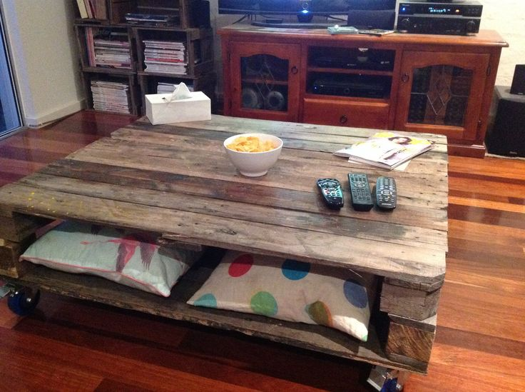 Coffee table made with recycled timber from old pallets