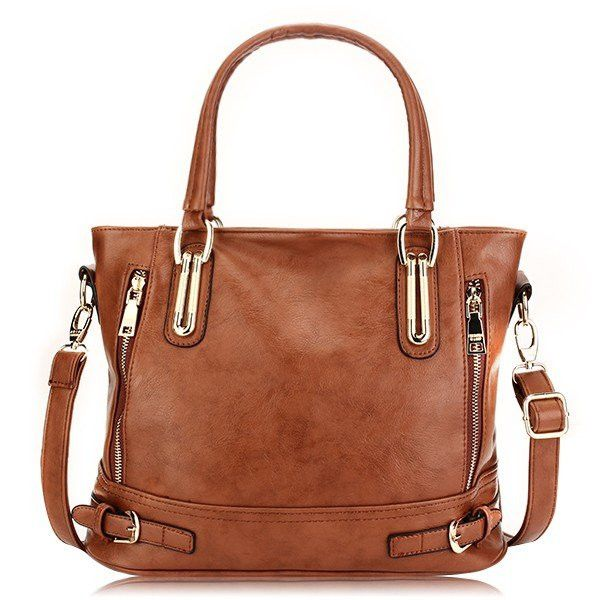 Women Vintage Side-Zipper Bucket Shoulder Bag Ladies Brown Handbag