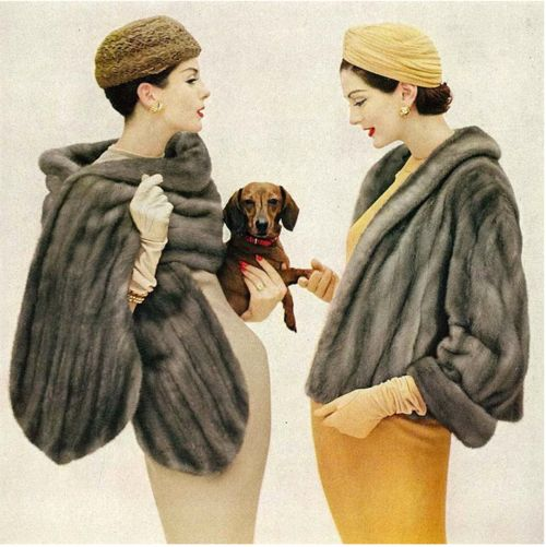 Vogue Magazine (1956) models Anne St. Marie and Carmen Dell Orefice, photo by Virginia Thoren