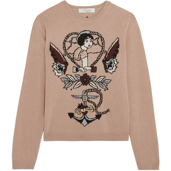 Valentino Intarsia wool and cashmere-blend sweater (67.180 RUB) ❤ liked on Polyvore featuring tops, sweaters, valentino, intarsia, shirts, tattoo shirt, valentino shirt, star shirt, wool shirt and shirt sweater