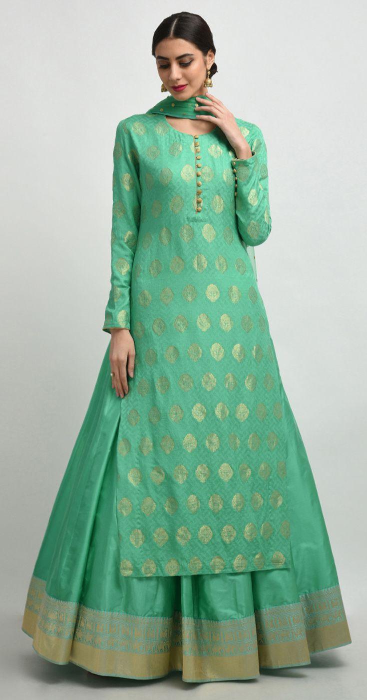e8a6002e80c2f Aquamarine Green Banarasi Zari Hand Woven Shirt with Pure Silk Skirt ...