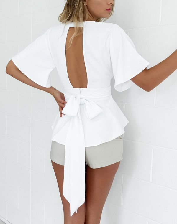 Aliexpress.com : Buy Open Back Bowknot Deep V Neck Cute Girl Summer Blouse White Big Bow Flare Bell Sleeve 2016 Ladies Top Backless Sexy Elegant from Reliable blouse green suppliers on what a beauty