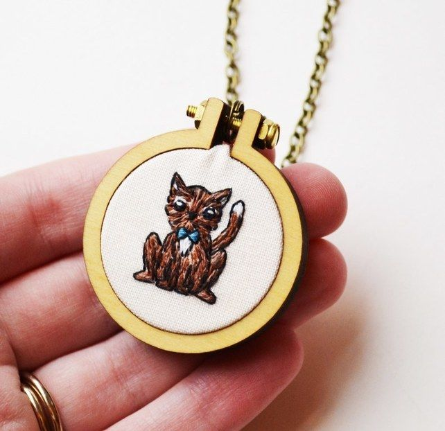 Cat Hand Embroidery Hoop Miniature Necklace £24.00