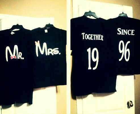 Johnny and my Disneyworld anniversary t - shirts.  It's getting close!!!