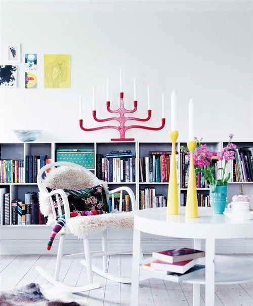 Loveology: White Room, Black & White Bookshelf, Bright Colored Accents