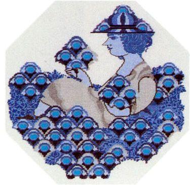 Vare nr. 530-6313,03 Broderi pakning Bjørn Wiinblad - Pige med blomster Str. 44 x 44 cm. Broderes med korssting på Hør med 10 tr. pr. cm. efter tællemønster. Pakken indeholder instruktion, stof, mønster, garn og en nål.