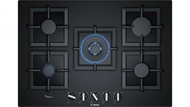 Bosch 75cm Series 6 5 Burner Tempered Glass Gas Cooktop - Black - Cooktops | Harvey Norman Australia