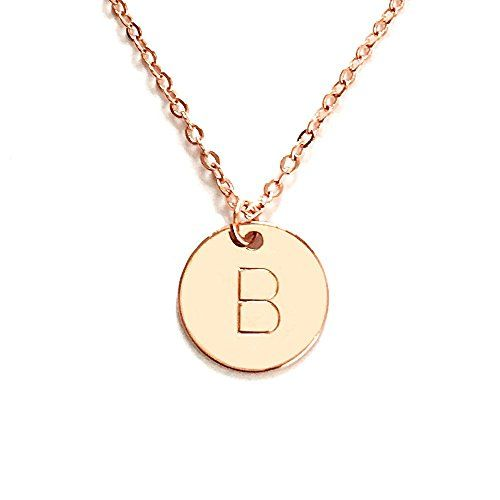 Personalized Round Disc Initial Pendant Necklace up to 3 Letters (Rose Gold) would be cool to have my initials on rose gold