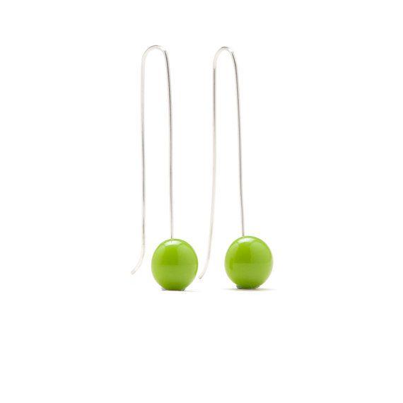 Long earrings handmade silver modern jewelry by boldcolorglass, $25.80