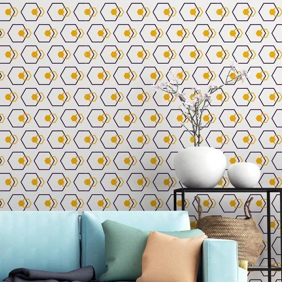Elegant Geometrical Removable Peel Stick Wallpaper Etsy In 2020 Peel And Stick Wallpaper Geometric Removable Wallpaper