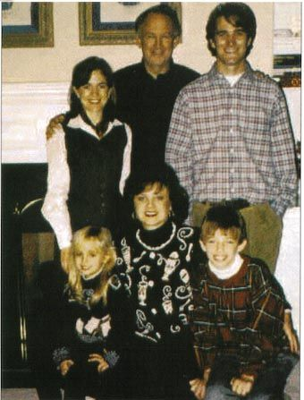 Ramsey family portrait: John, JonBenet, Patsy, Burke, and the two children from John's previous marriage: Melinda and John.