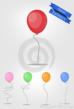 Set of balloon vector with five color