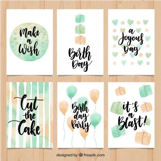 Set of vintage watercolor greeting cards with messages free vector