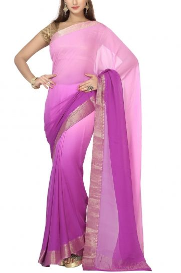 Orchid & Royal Purple Shaded Pure Chiffon Zari Border Saree
