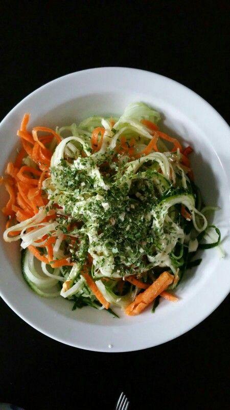 Heerlijk bordje groene spaghetti met wortel voor na het sporten.