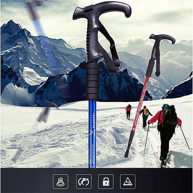 Ultra-ligero Bastón de Goma De Alta calidad antideslizante mango muleta Trekking bastón de esquí senderismo De Aluminio Ajustable