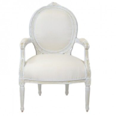 Brocante stoel antiek wit
