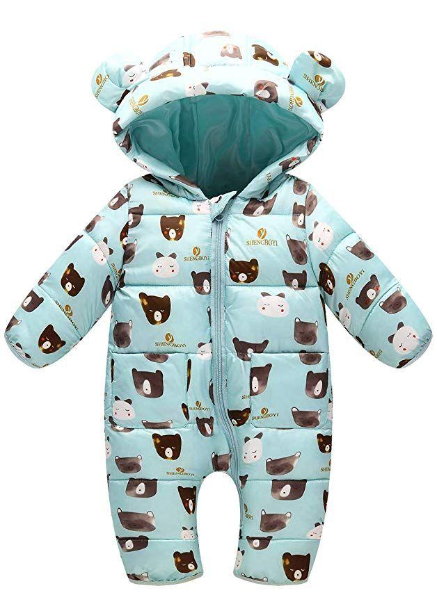 0fb84a5d3230 Happy Cherry Baby Winter Jumpsuits Girl Snowsuit Winter Long Sleeve Bodysuit  Hooded Zipper Onesie Snowsuit Green