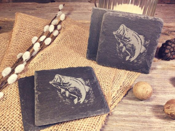 Laser Etched Natural Slate Bass Fish Coasters  Set by OTBengraving